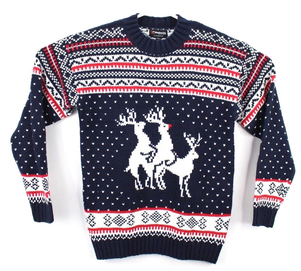 Skedouche  Herren Größe XL Pullover Knit Sweater Ugly Christma Sweater Deer Blau ROT