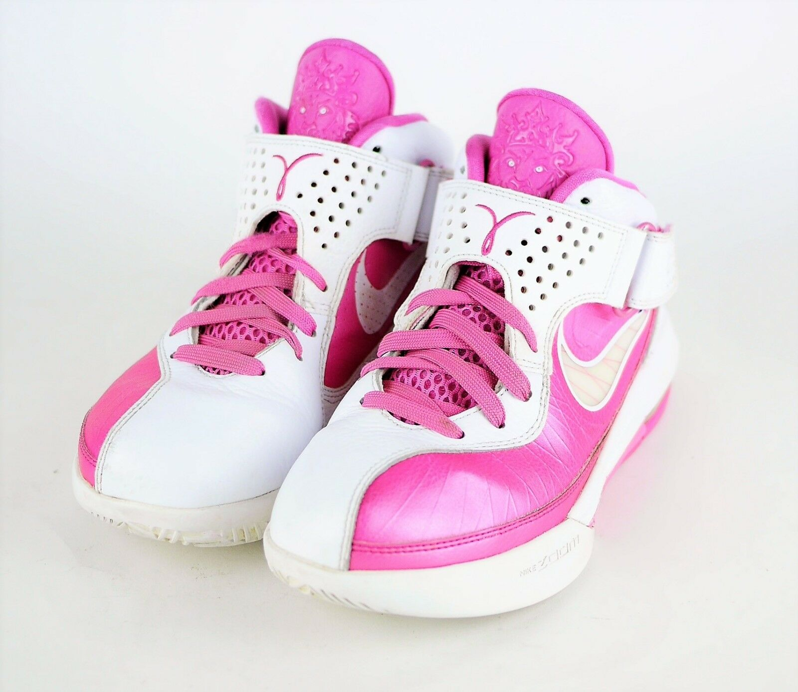 NIKE LEBRON JAMES Wm's 7.5 PINK BREAST CANCER AWARENESS HIGH TOP SNEAKERS SHOES