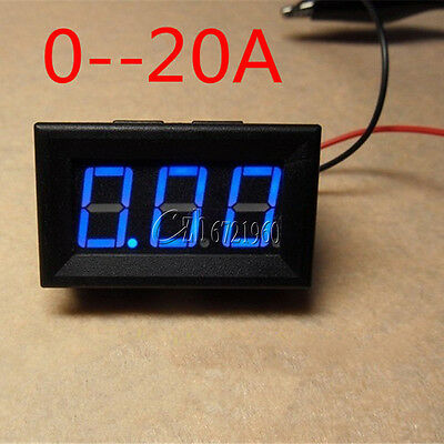 Blue LED DC 0 To 20A Panel Meter Mini Digital Ammeter  NEW