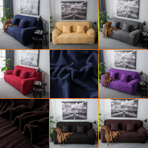 1//2//3 Sofa Slipcover Stretch Covers Elastic Fabric Settee Protector Fit UK stock