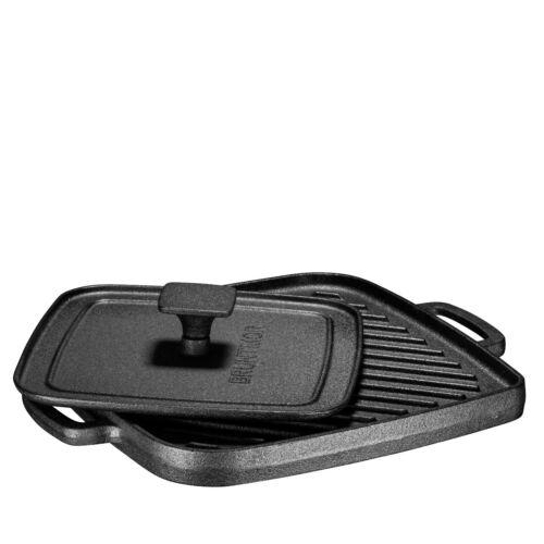 Bruntmor Pre-Seasoned Cast Iron Single Burner 10X10 Reversible Grill Griddle