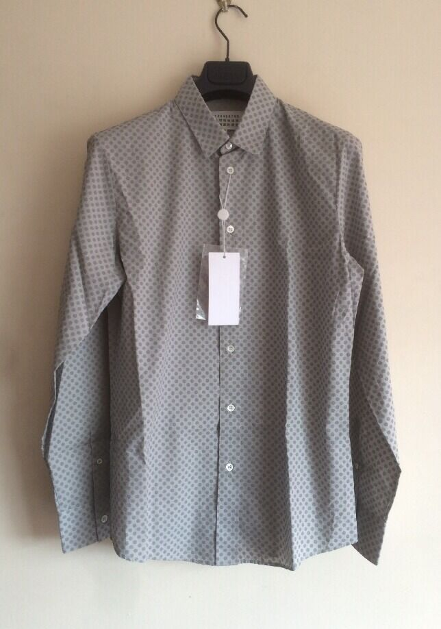 MAISON MARTIN MARGIELA Reflective Polka Dot Cotton Shirt IT46 (FITS LIKE M)