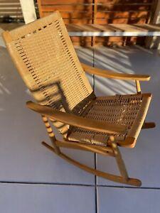VINTAGE-Mid-Century-Modern-Hans-Wegner-Rope-Seat-Rocking-Chair-DANISH-MCM