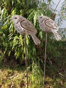 2st Gartenstecker Beetstecker Edelstahl Edelrost Vogel Metall Gartendeko Deko Ebay