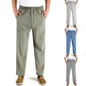Men-Elastic-Loose-Straight-Pants-Beach-Yoga-High-Waist-Linen-Long-Trousers-Pants