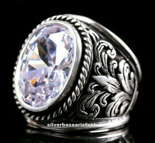 Ottoman Style Ring Silver Ring Ottoman Style Ring Silver 925 Men/'s Ring Gift for Him Sterling Silver 925 Emerald Handmade Ring