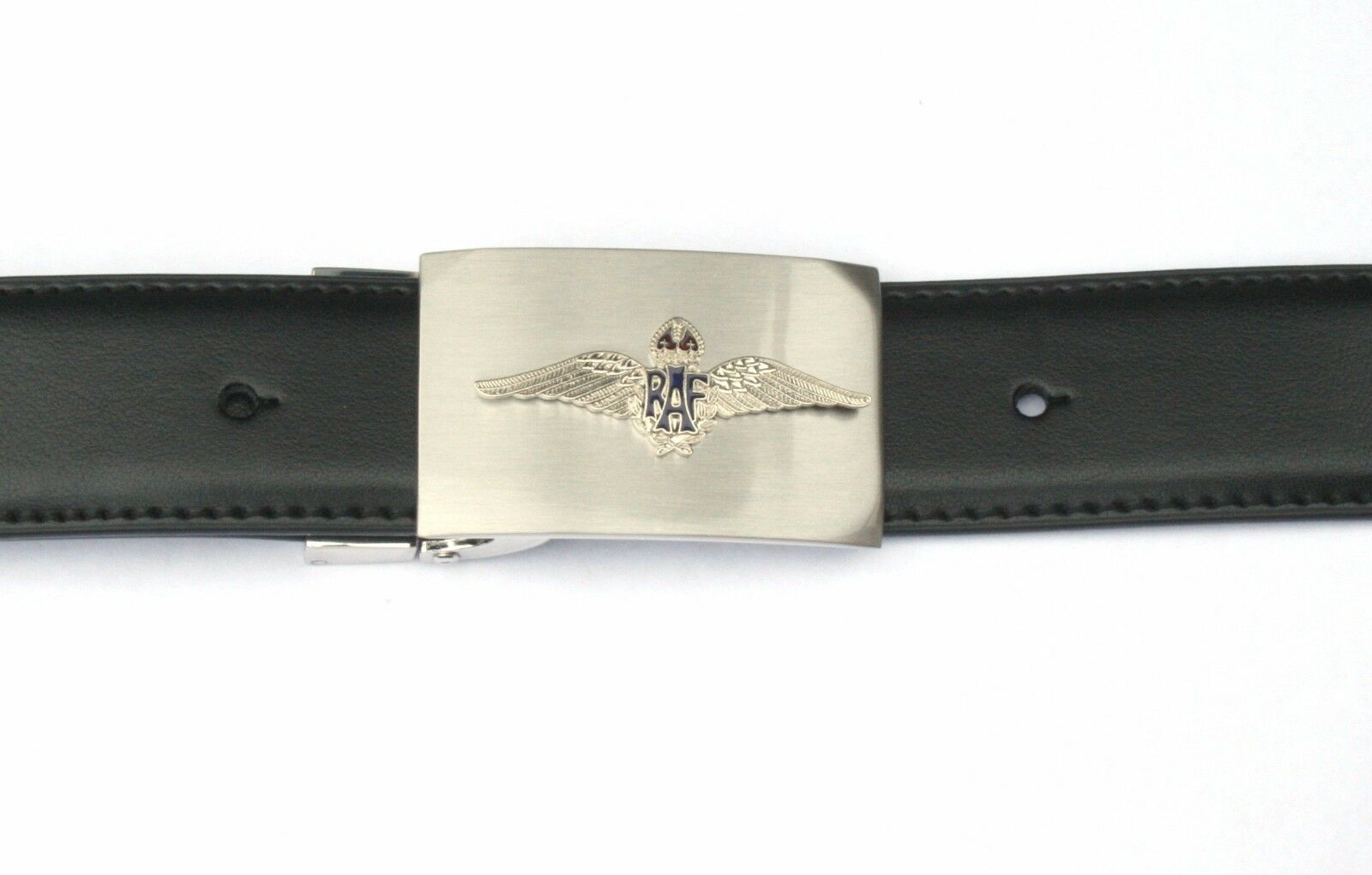 RAF Wings Royal Air Force British Buckle and Belt Set Black Leather Gift