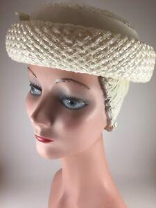 Vintage-1950s-Womens-Hat-Cream-Rolled-Brim-Straw-Lady-s-Grosgrain-Ribbon-USA