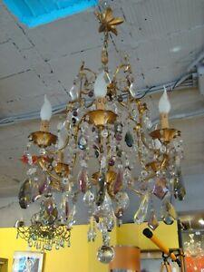 Lampadario Con Gocce Di Cristallo.Vecchio Lampadario In Ottone E Con Gocce Di Vetro Colorate Ebay