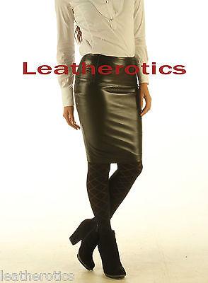 Genuine leather sheath office skirt tight fit sexy black unique design sk17