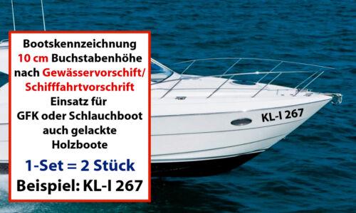 2x Bootskennzeichnung oder Bootsbeschriftung GFK 10 cm VH nach DIN