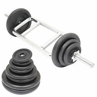 """TRICEP/BICEP 1"""" WEIGHT BARBELL BAR & CAST IRON WEIGHTS SET GYM/LIFTING ARM/CURLS"""