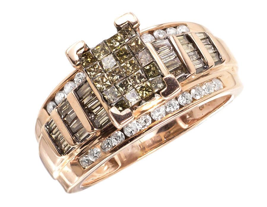 10k pink gold Ladies Brown White Princess Diamond Engagement Wedding Ring 1ct