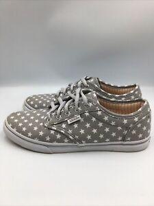 Details about Vans Gray Sneakers w/stars motif Women's size 6