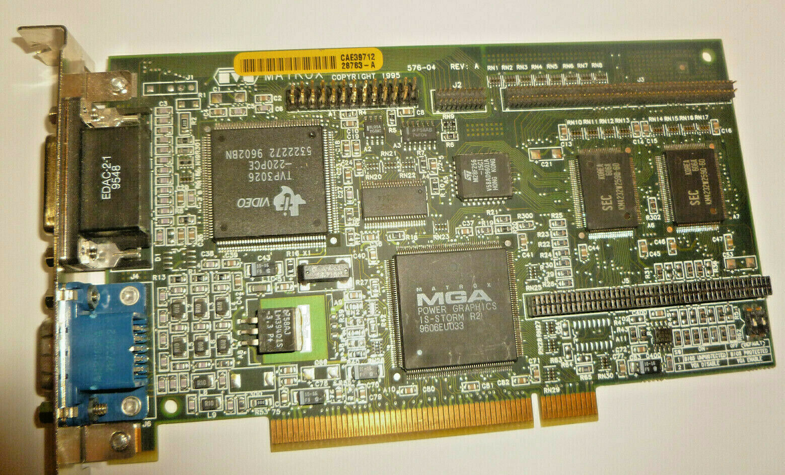 MATROX 576-04 REV A 2MB PCI GRAPHICS CARD w/VGA and Game Port outputs TESTED
