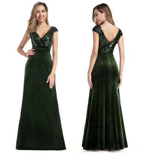 Ever-Pretty V-Neck Sequin Vevlet Patchwork Evening Maxi Dress Cocktail Ball Gown