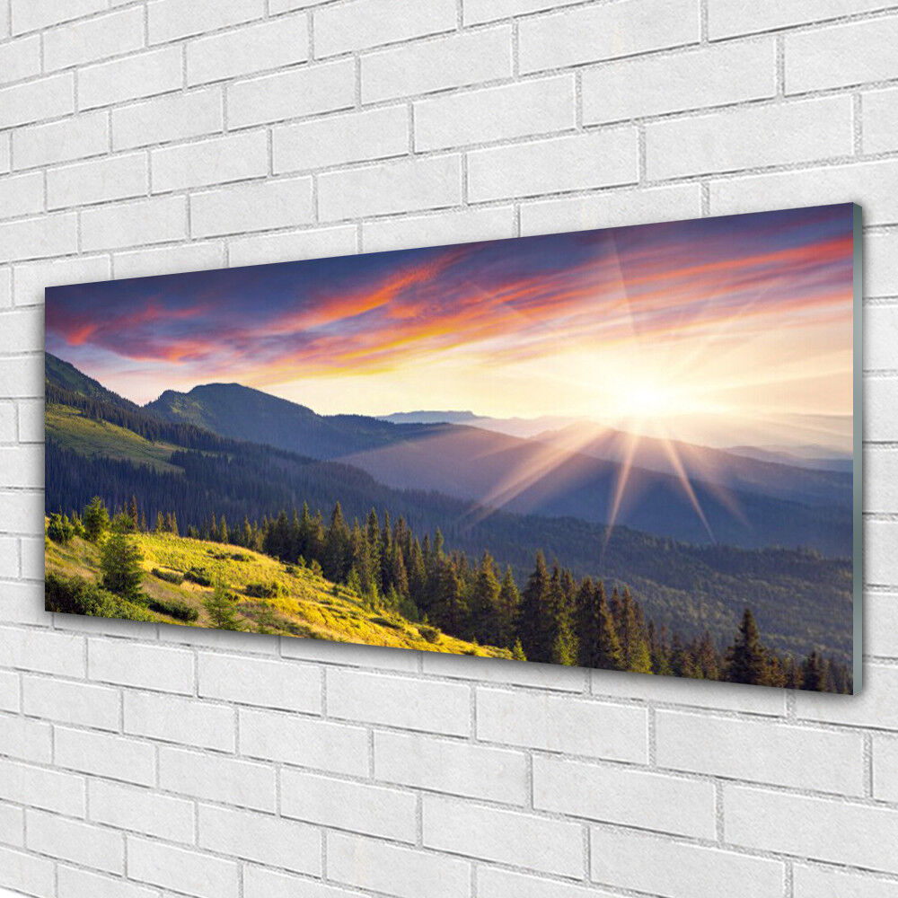 Impression sur verre Image tableaux 125x50 Paysage Forêt Montagne Soleil