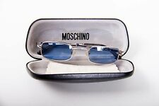 MOSCHINO blue lens silver frame sunglasses with case & lens cloth New