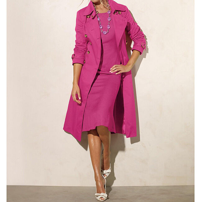 New Newport News Women's Double-Breasted Belted Trench Rain Coat Pink Purple 6