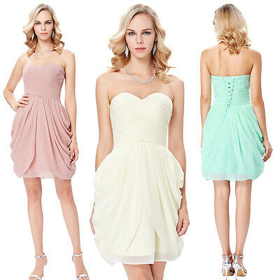 Strapless Sweetheart Neck Chiffon Cocktail Evening Prom Party Bridesmaid Dress