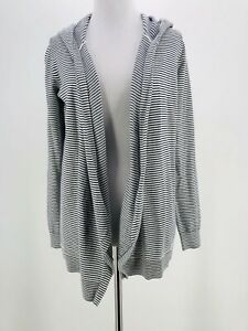 LOFT-Women-039-s-White-amp-Black-Striped-Cotton-Blend-Hooded-Cardigan-Sweater-Size-XS