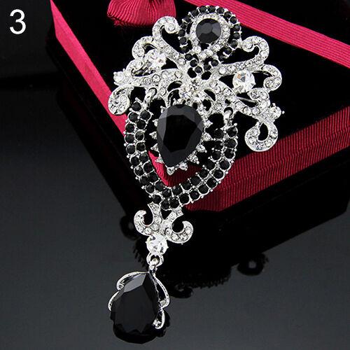 Women's Luxury Crown Waterdrop Crystal Rhinestone Brooch Pin Striking Accessory