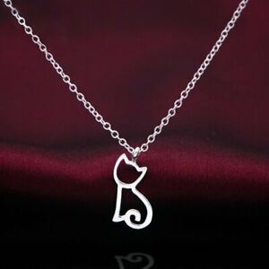 Charm-Women-Hollow-Cat-Animal-Silver-Chain-Pendant-Choker-Necklace-Jewelry-Gift