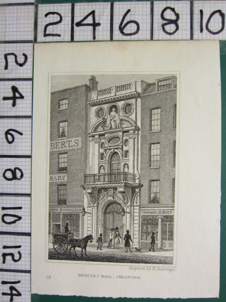 Adaptable C1830 Antique Imprimé Londres ~ Mercer's Hall ~ Cheapside