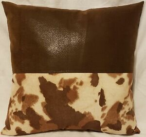 """set of 2 Decorative Cow Hide Suede Velvet pillow 18/""""x18/""""  INSERT INCLUDED"""