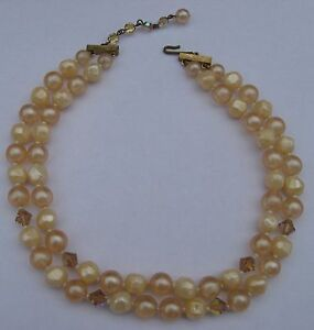 Vintage-Necklace-1950s-Two-Strand-Faux-Pearl-AB-Aurora-Borealis-Beads