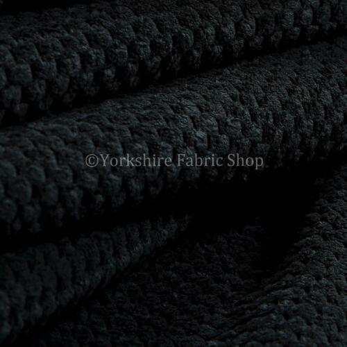 Velours doux côtelé repéré Artisanat Upholstery Tissu Rideau canapé plaine noir