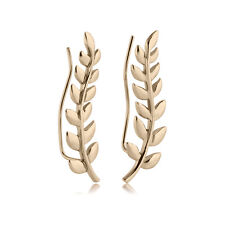 Zircon Gold plated 316L Surgical Steel Ear Vine Pin Wire Earring Stem Leaves 20G