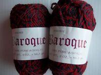 Baroque Fashion Yarn, Super Yarn Mart, Burgundy (red/navy Twist), Lot Of 2