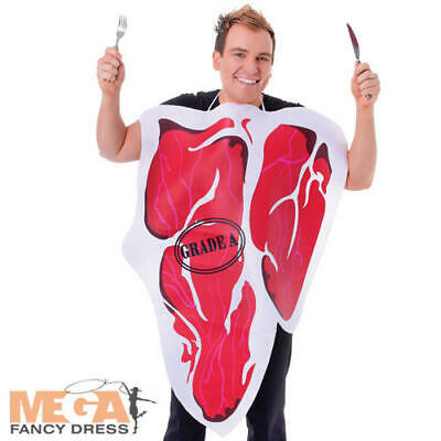 Steak Adults Fancy Dress Meat Food Fun Novelty Mens Ladies Stag Costume Outfit Seien Sie Im Design Neu