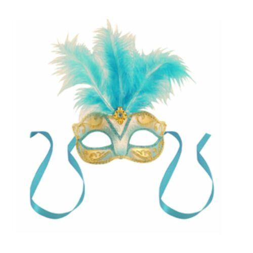 Blue Centre Feather Mask Venetian New Years Eve Masquerade Ball Face Party Mask