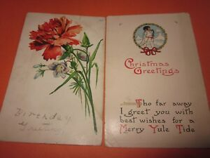 2-Vintage-Used-Postcards-Dated-1913-with-Stamps