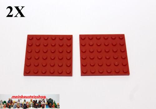 2X Lego® 3958 Basic Platten Plate 6X6 Rot Red