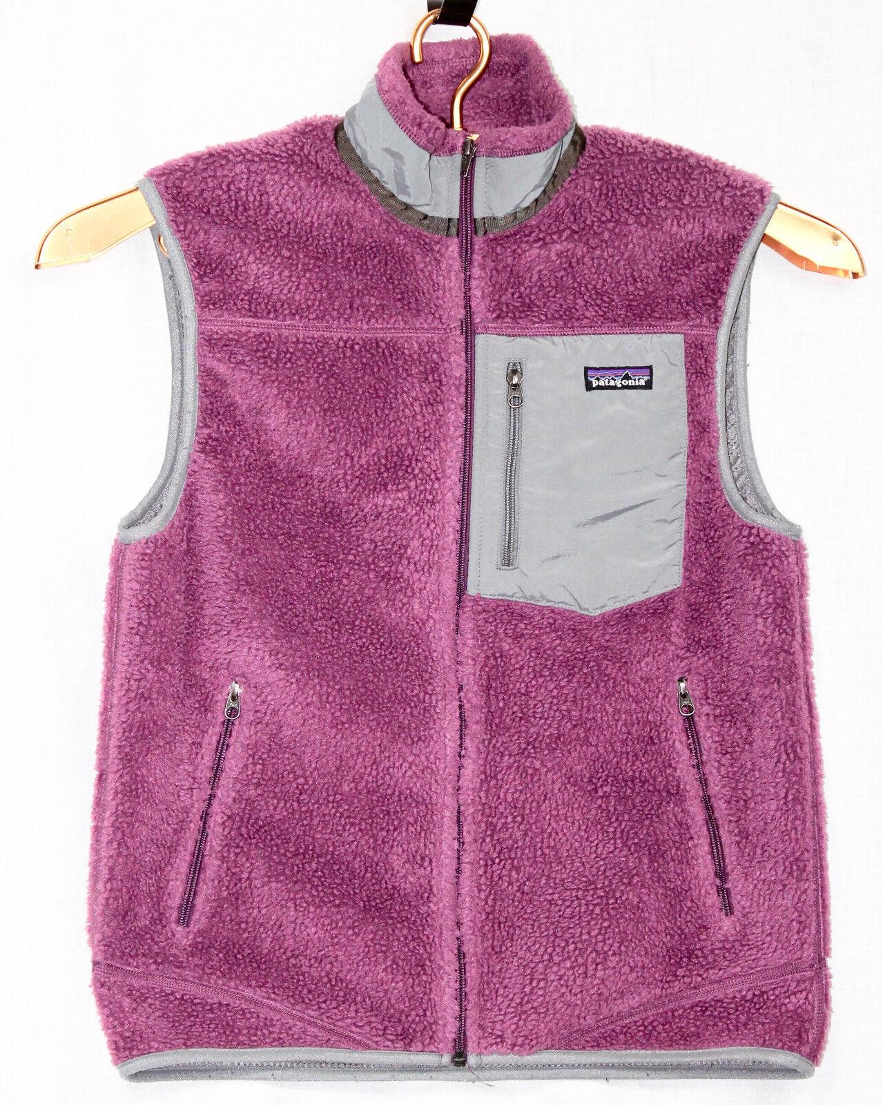 PATAGONIA Uomo's Medium Classic Retro-X Sherpa Deep Pile Sherpa Retro-X Fleece Zip Vest viola 2a8615
