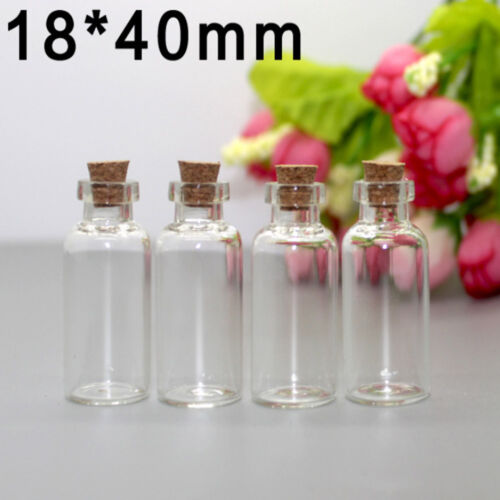 20x Clear Mini Small Cork Stopper Tiny Glass Vial Jars Containers Bottle Bulk YP