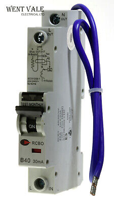 Wylex NH Range NSBS40-B//1-40a 30mA Type B Single Pole RCBO Used