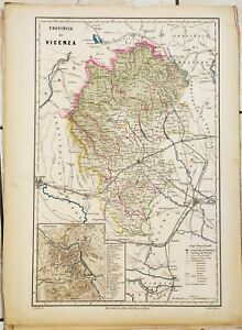 Cartina Geografica Provincia Di Pesaro Urbino.1868 Carta Geografica Provincia Vicenza Thiene Schio Arzignano Lonigo Vallardi Ebay