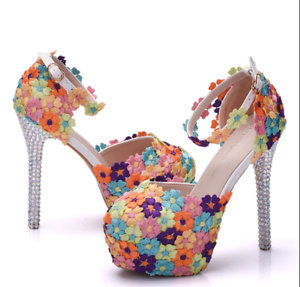 ef140aa58f8c Details about Womens Floral Platform Ankle Strap Pump Wedding Stilettos  High Heels Shoes US9.5