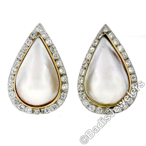 Vintage 14K TT Gold Large Pear Mabe Pearl 1.75ct D