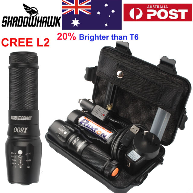 8000lm Genuine Shadowhawk X800 Flashlight CREE L2 LED Military*Tactical Torch AU