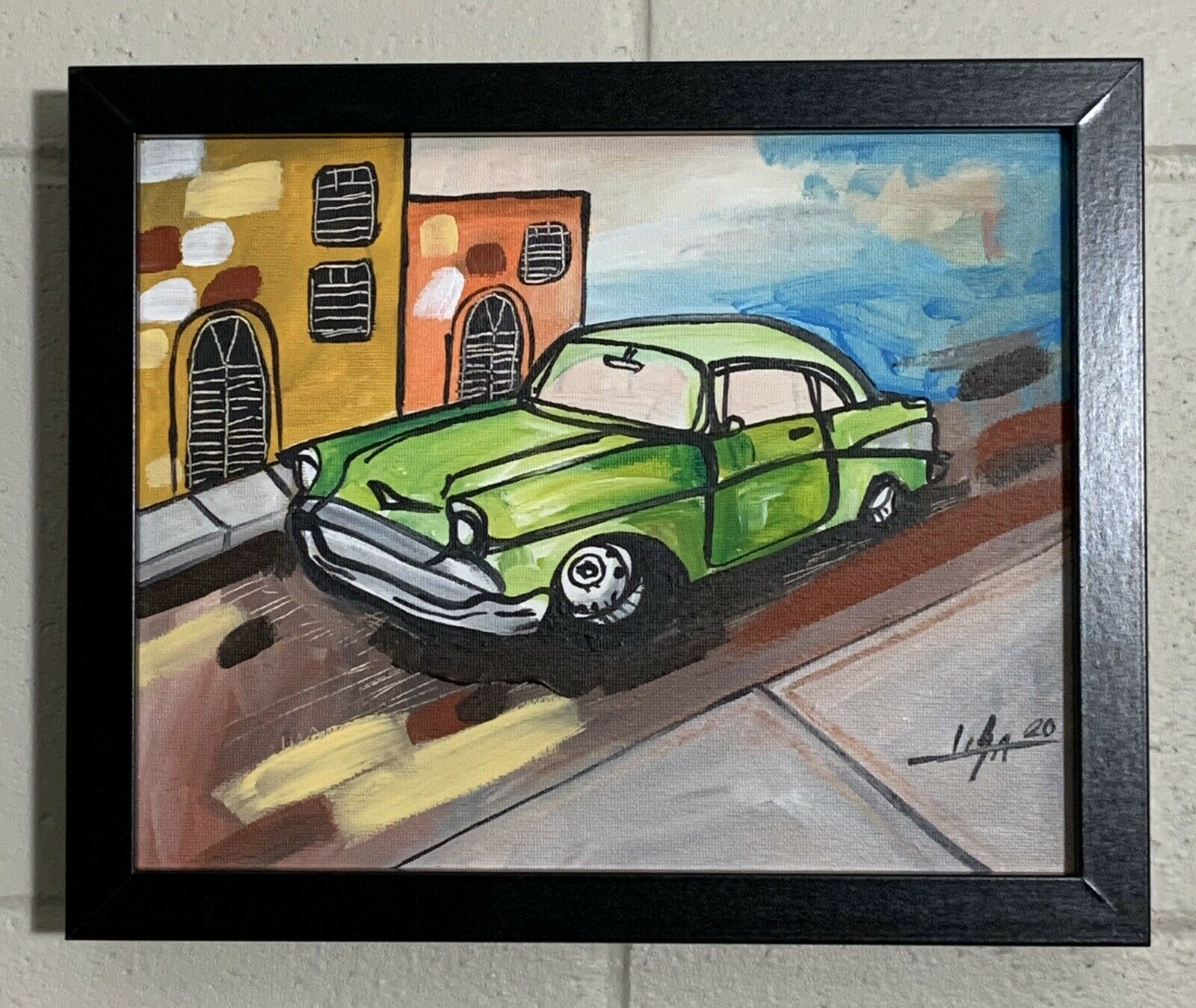 "PAINTING ORIGINAL ACRYLIC ON CANVAS (FRAME INCLUDED) CUBAN ART  8""X10"" By LISA. 1"