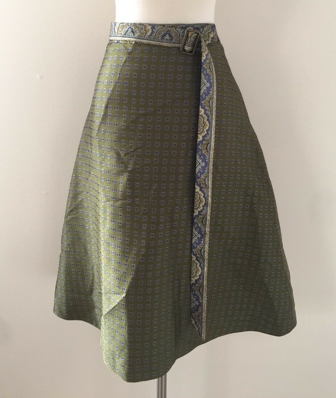 New Jcrew Women's Olive Green Paisley Belted A Line Skirt Size 6 RARE