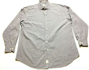 Peter-Millar-Mens-Blue-Brown-Plaid-Front-Pocket-Button-Front-Shirt-Size-17-5-XL