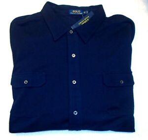 Polo-Ralph-Lauren-100-Cotton-Knit-Long-Sleeve-Sport-Shirt-NWT-4XB-165-Navy