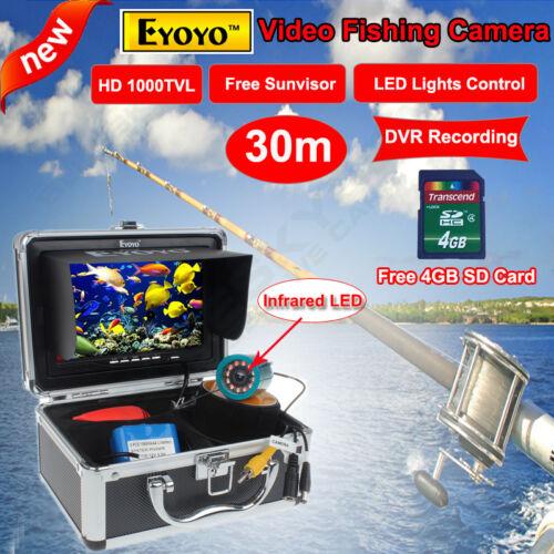 """Lichtsteuerung 30M 7/"""" Fish Finder Unterwasserfischen Videokamera 8GB DVR w"""