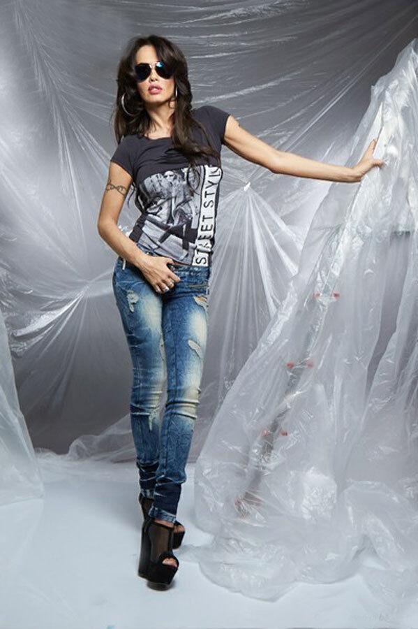 By Alina Damenjeans Hüftjeans Röhrenjeans Jeanshose Hose Fetzen Jeans 32 XXS